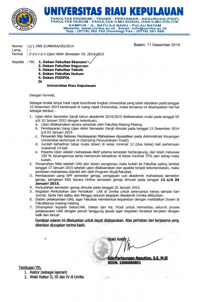SURAT EDARAN TENTANG PELAKSANAAN UAS GANJIL 2014/2015